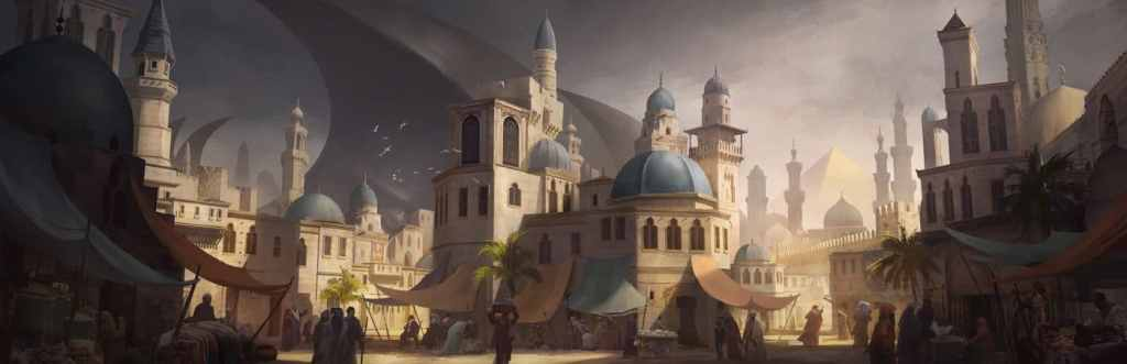 The sun sets on the sandstone-colored city, capped by blue domes, in a scene from the Lost Omens World Guide.