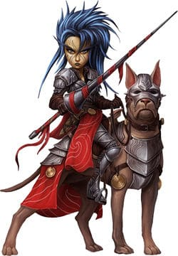 A gnome with her trusty wardog in Pathfinder Second Edition Champion.