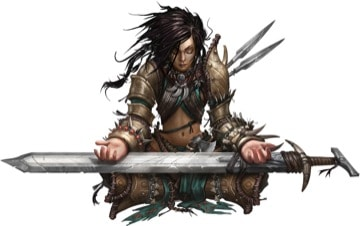 A Pathfinder 2E Barbarian, a reverent Amiri sits cross-legged, palms pointing upright as they rest on her massive sword.