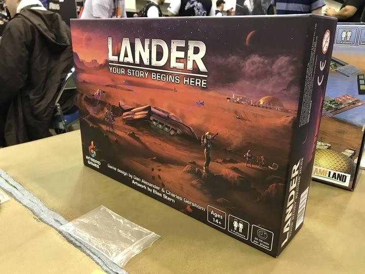 Lander box art, a board game releasing in 2020.