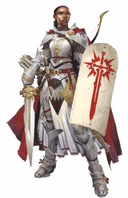 The Pathfinder Second Edition Champion iconic, Seelah, is heavily armored in sturdy platemail.
