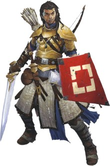 Pathfinder Second Edition Fighter Iconic, Valeros, holds a red kit shield and a longsword, ready to fight.