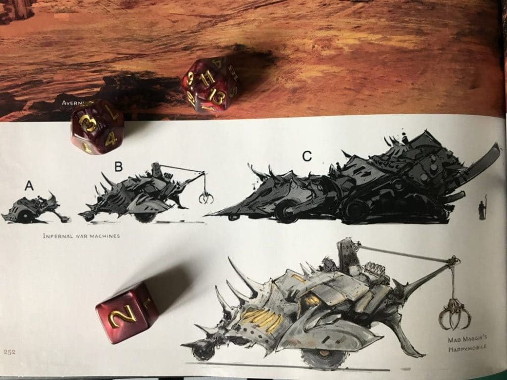 Baldur's Gate: Descent into Avernus concept art of infernal war machine vehicles.