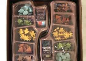 PARKS Board Game Review Twin component trays cut like tree limbs