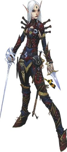 Pathfinder Second Edition Rogue Merisiel, ready to dish out damage with her slender rapier and sharp knife.