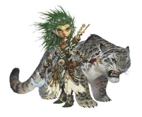 Pathfinder 2nd Edition Druid, the green-haired gnome Lini and her trusty companion Droogami, a ferocious snow leopard.