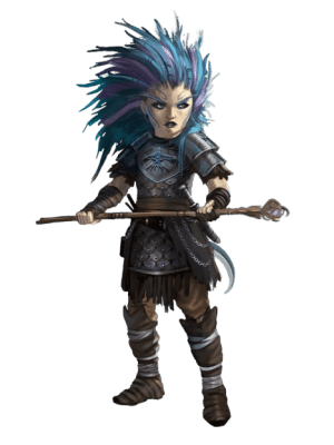 Pathfinder Second Edition Sorcerer, a strong-willed gnome with blue and purple hair and swirling tattoos. She has a blue raven marked across the chestplate of her armor, and she's holding a balanced staff across her body.