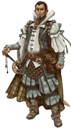 Pathfinder Second Edition Wizard, a Thassalonian man dressed in simple finery, his hand resting on the pommel of his rapier.