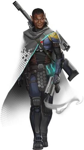 Starfinder Half-Elf wearing technoweave armor mid-stride.