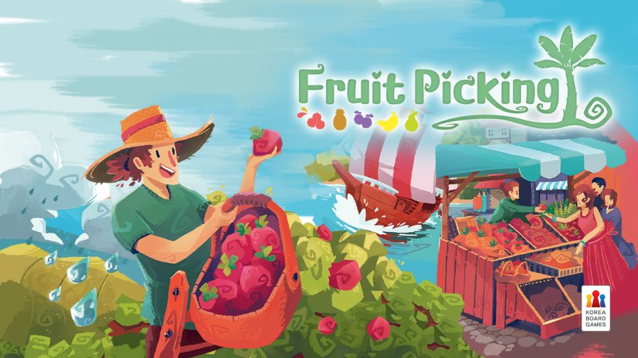 Fruit Picking board game featuring a person harvesting fruits above the shoreline.