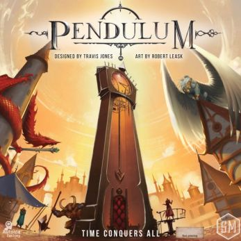 The cover of Pendulum Board Game, featuring a dragon, clocktower, and angelic figure.
