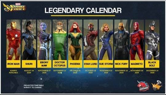 Marvel Strike Force Legendary Calendar