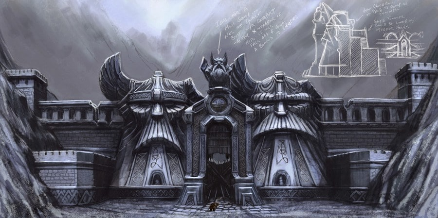 A massive dwarven wall outlines a magnificent dwarven gate, all cast in a gray color palette.