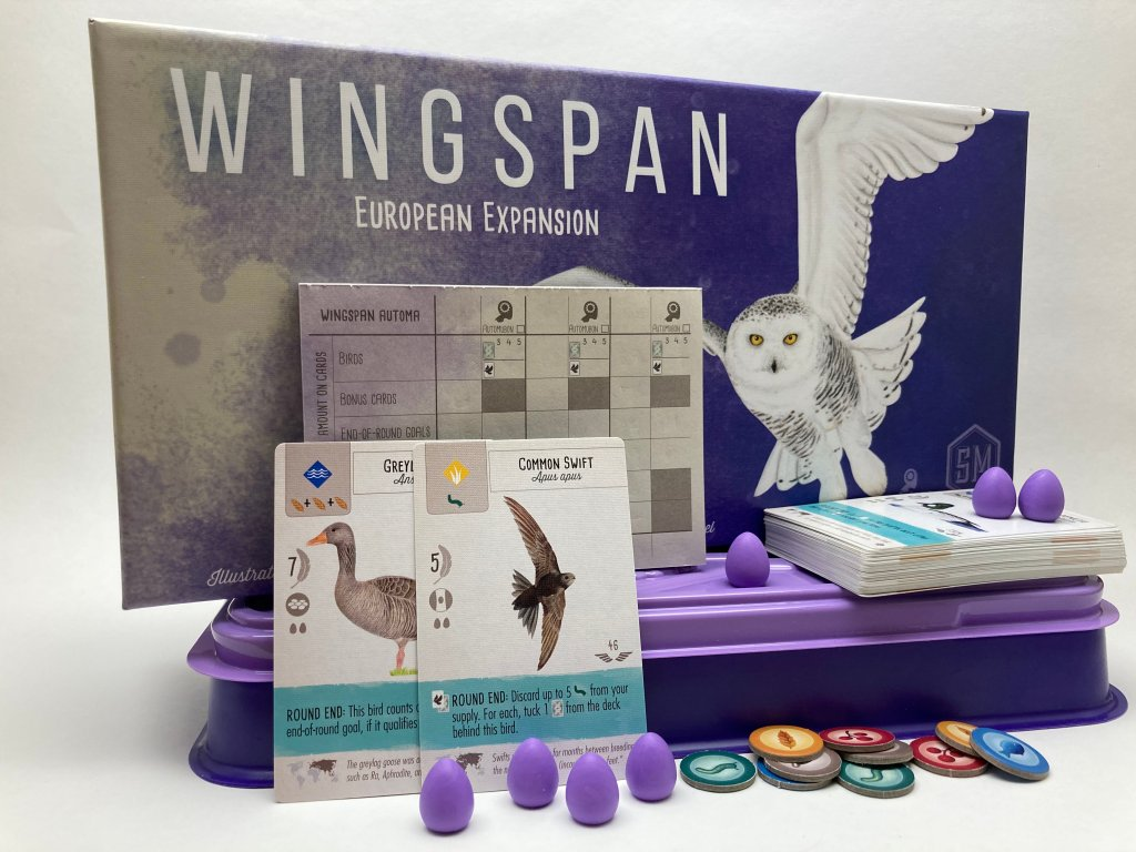 Wingspan European Expansion Board Game Box and components