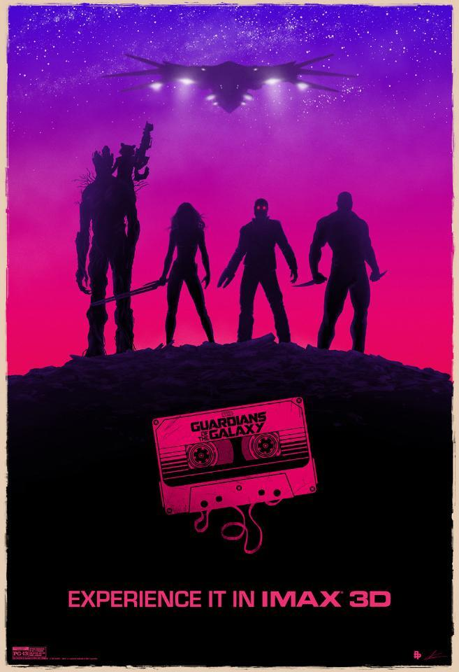 This poster has a certain confidence in its style that most movie posters don't (it helps that it's a IMAX-specific poster, so it doesn't have to pander to the lowest common denominator). The bright pinks and purples are certainly reminiscent of the movie's obsession with the 80s. The silhouettes look appropriately awesome, and the Milano hovering above is a nice touch.