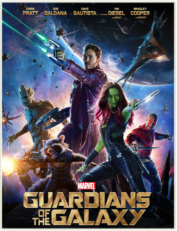 What a classic sci-fi poster for a movie that felt like a throwback to the grand sci-fi epic. The vibrant colors of the poster perfectly capture GOTG's unique identity, and we also get a good shot of each of our new heroes in cool action poses.