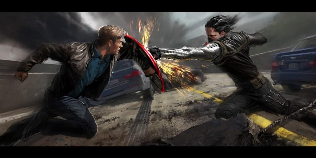 Cap vs Winter Soldier concept art