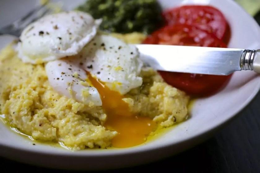 Poached Eggs Polenta Kale Walnut Pesto