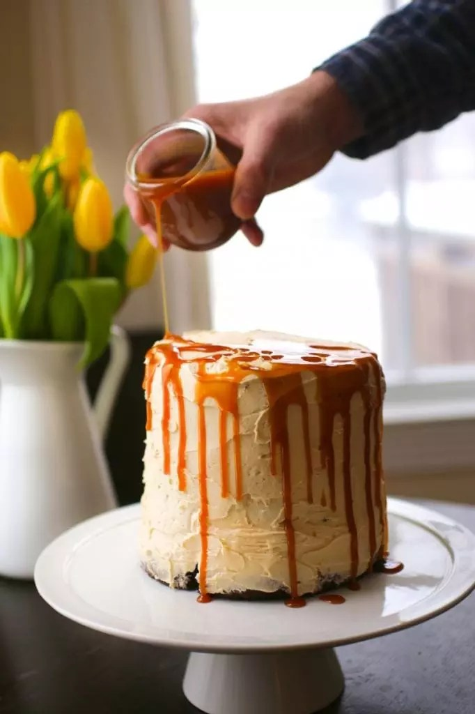 Three Layer Chocolate Cake with Salted Caramel Buttercream