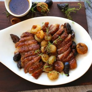 A platter of duck breasts