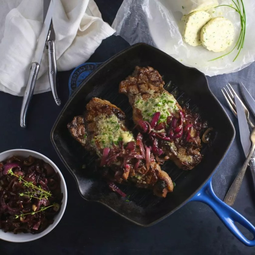 Steak with Blue Cheese Chive Butter & Balsamic Red Onions