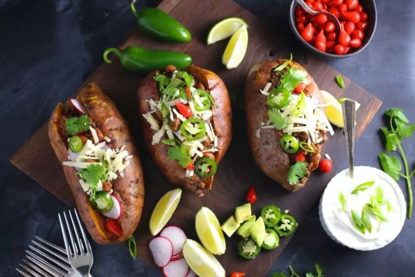 Spicy Chili Stuffed Sweet Potatoes