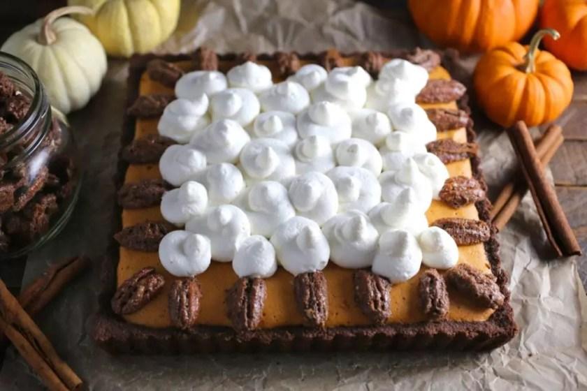 Bourbon Pumpkin Mousse Pie with Candied Pecans