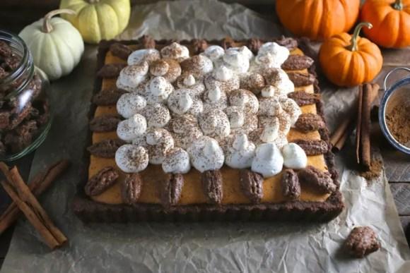 Bourbon Pumpkin-Mousse Pie with Candied Pecans