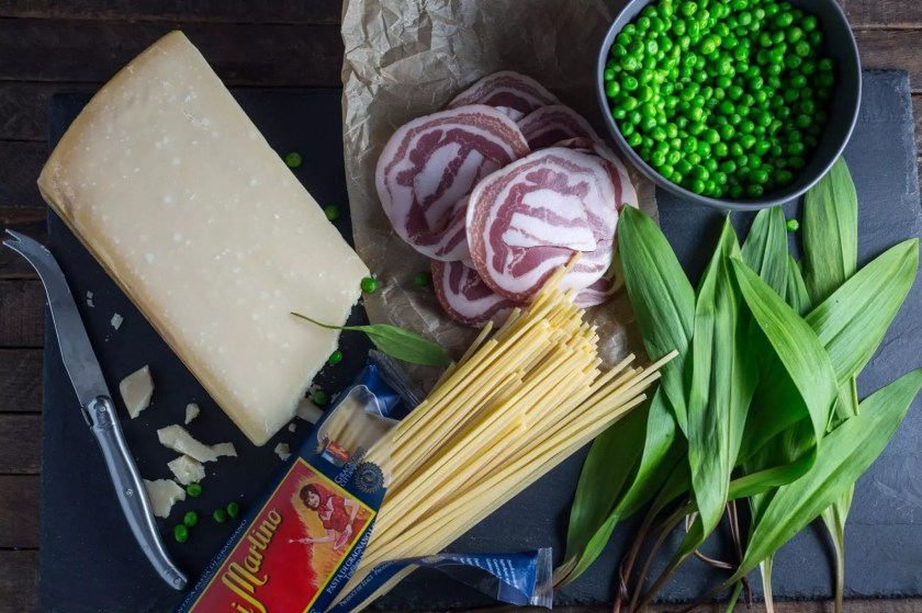 Spring Pasta with Ramps, Peas and Pancetta