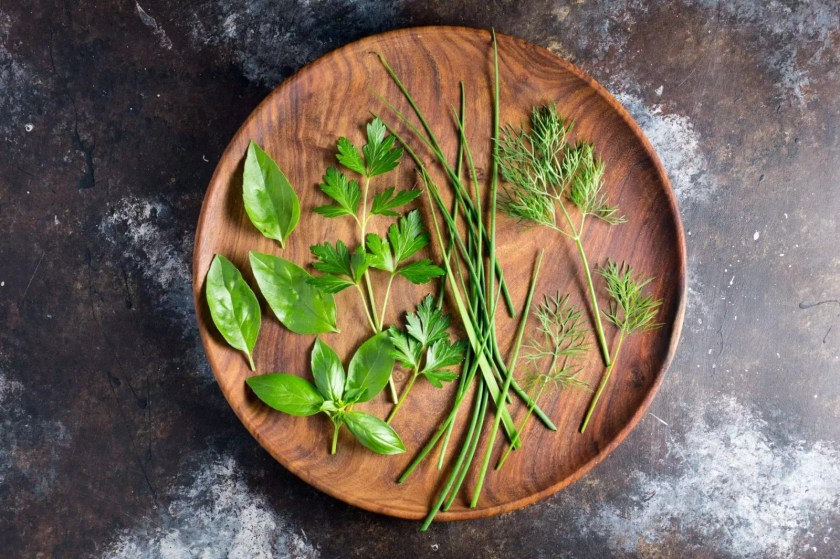 Basil, parsley, chives and dill