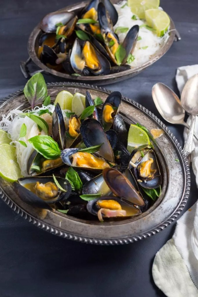 One-Pot Thai Curry Mussels with Rice Noodles