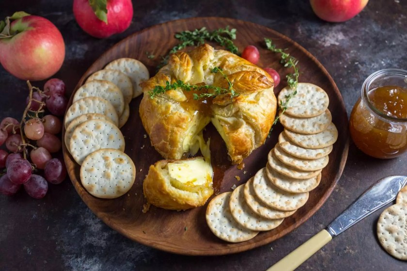 Simple Baked Brie en Croûte with Thyme and Fig Jam