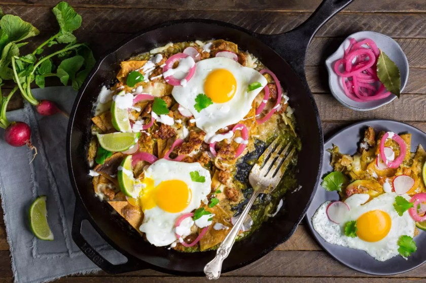 Extra Crispy Salsa Verde Chilaquiles with Chorizo and Egg