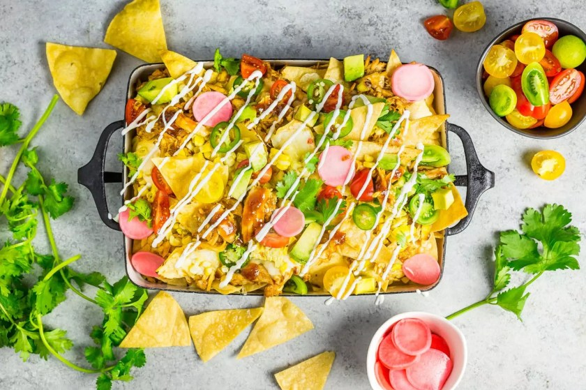 Loaded Summer Nachos with Grilled Corn and Bourbon BBQ Chicken