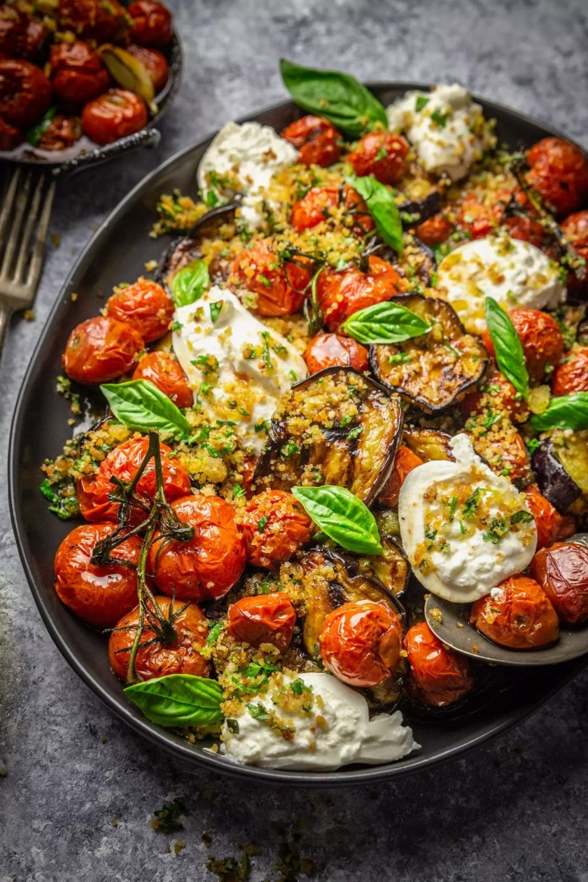 A Light, Grilled Eggplant Parmesan with Roasted Tomatoes and Burrata