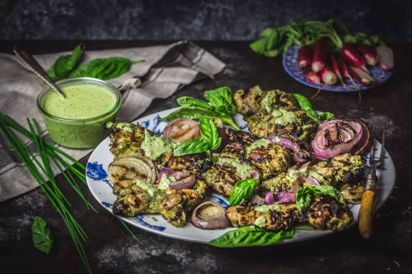 Green Goddess Grilled Chicken with Red Onions
