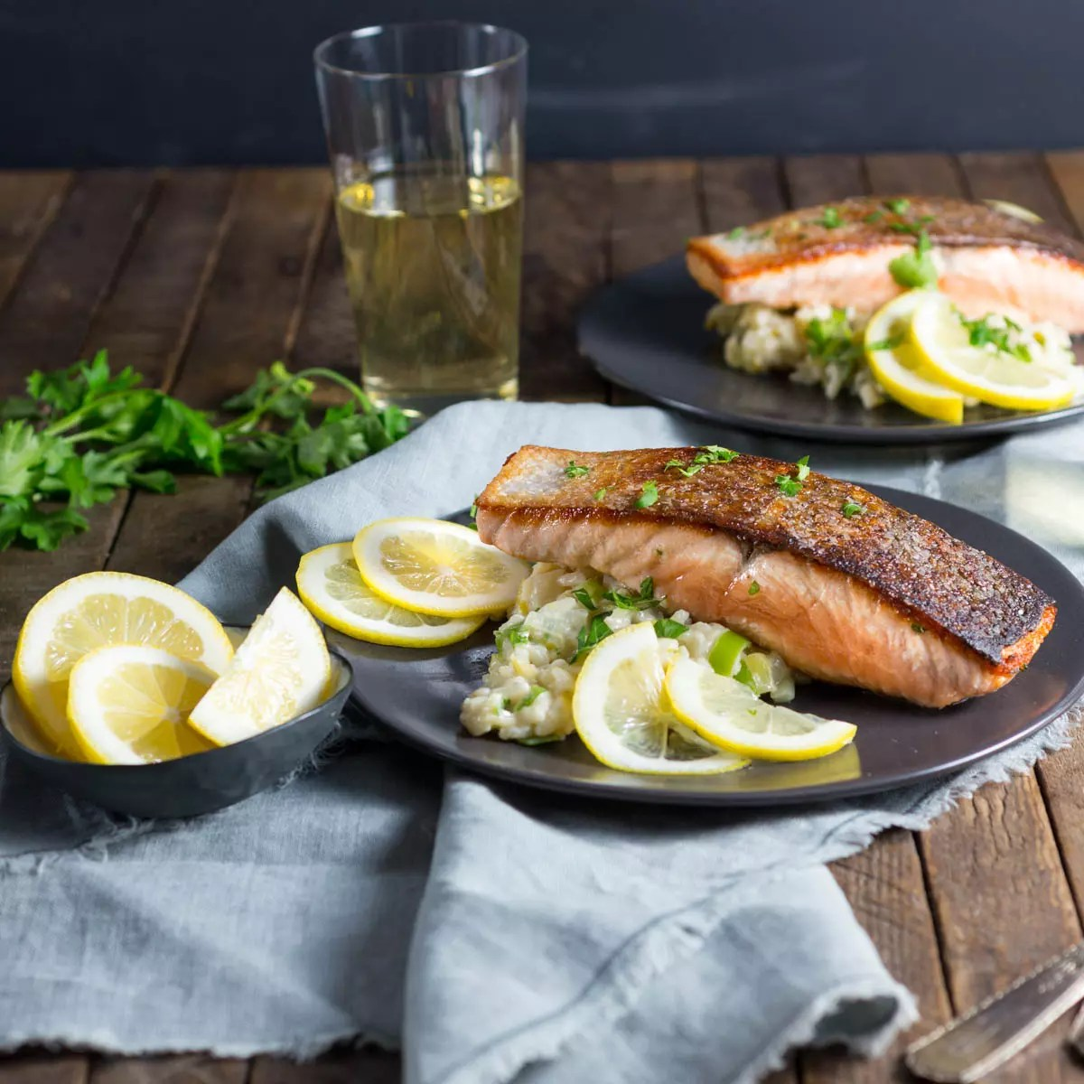 Crispy Salmon and Creamy Lemon Rice