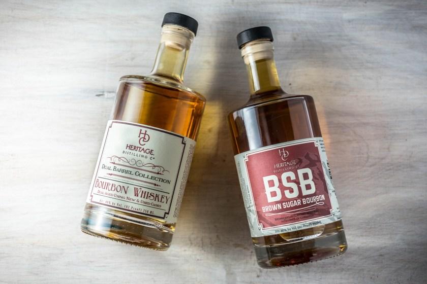 Two bottles of bourbon