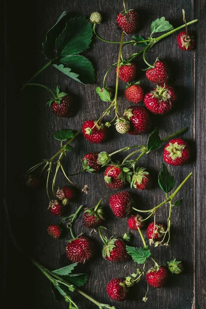 Scattered garden strawberries