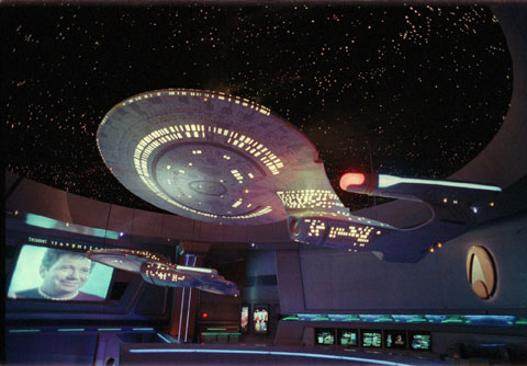 Replicas of the Federation starships Enterprise and Voyager hang from the ceiling at the Las Vegas Hilton's Star Trek: The Experience, just before the attraction opened in January 1998. The exhibit, which is ending in September after more than a decade, transports visitors at warp-speed to a futuristic world of Klingons, Romulans, transporters and turbolifts. (ASSOCIATED PRESS FILE PHOTO)