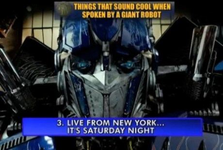 Optimus Prime on CBS Late Show With David Letterman