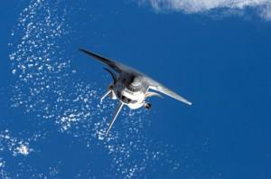 Space shuttle in orbit
