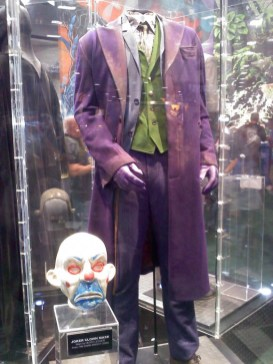 The clown mask and suit worn by Heath Ledger in The Dark Knight Returns were on display in the DC booth.