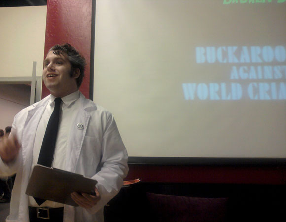 Dr. Diabolic introduces the Buckaroo Banzai screening that capped off NerdvanaCon.