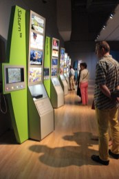 Several cases showed off video game systems new and old.