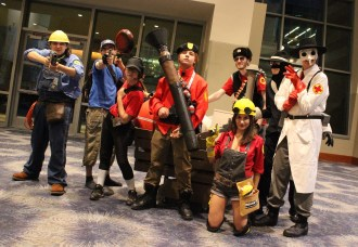 A group of player characters from the game Team Fortress. (Photo by Christen Bejar)