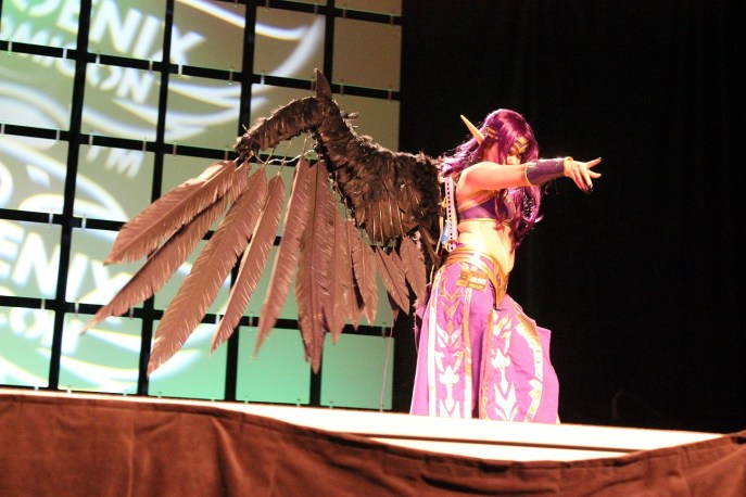 A Morgana cosplayer from League of Legends stalks the stage. (Photo by Christen Bejar)