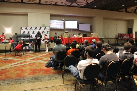 Gamers took a break from the action to watch tournaments in the AZHP room. (Photo by Christen Bejar)