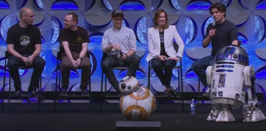 Droid tinkerers, director J.J. Abrams and Lucasfilm president Kathleen Kennedy