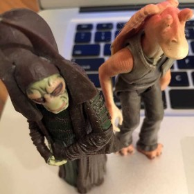Rune Haako and Jar Jar Binks action figures from The Phantom Menace